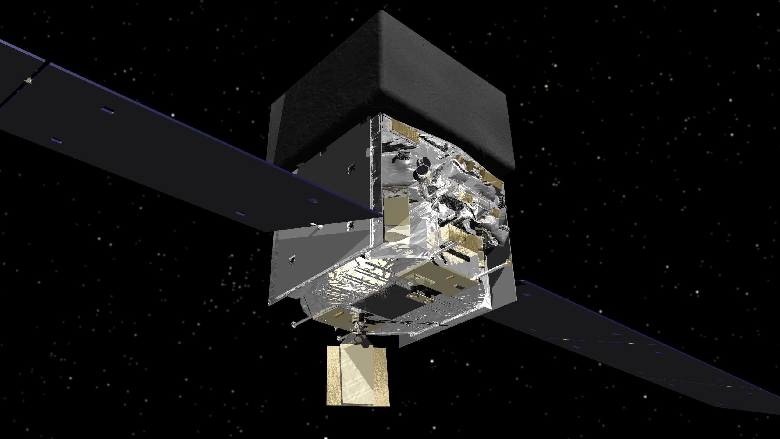 This computer graphic shows the structure of NASA's Fermi satellite. The central, box-shaped instrumentation platform lies between the solar panels. The Large Area Telescope, data from which the astronomers evaluated, is hidden beneath the black cover visible on the top.