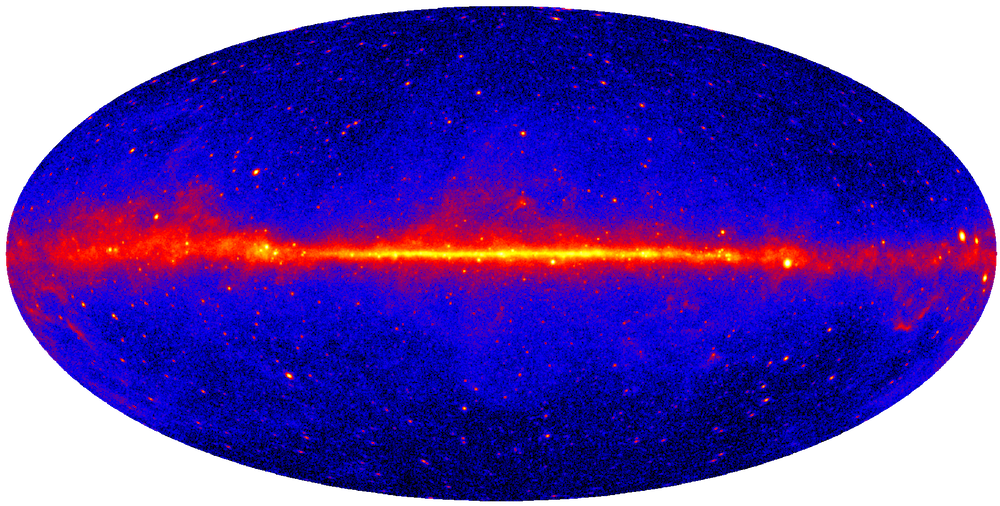 The entire gamma-ray sky as seen by the Fermi Large Area Telescope. Colors show the intensity of gamma-rays in the Fermi detection band.